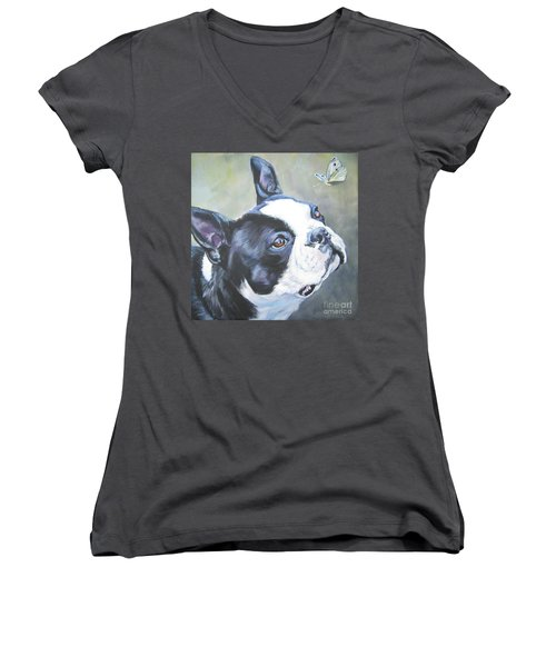 boston Terrier butterfly Women's V-Neck T-Shirt (Junior Cut) by Lee Ann Shepard