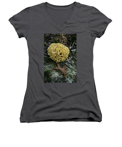 Brain Or Cauliflower Fungus Women's V-Neck T-Shirt (Junior Cut) by Douglas Barnett