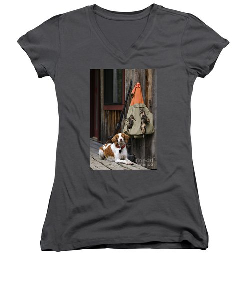 Brittany And Woodcock - D002308 Women's V-Neck T-Shirt (Junior Cut) by Daniel Dempster