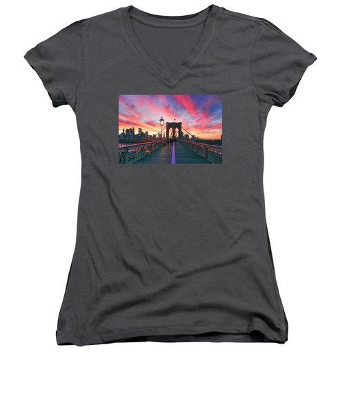 Brooklyn Sunset Women's V-Neck T-Shirt (Junior Cut) by Rick Berk