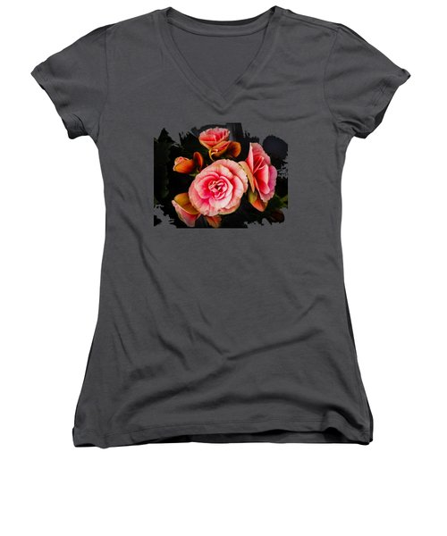 Bygone Begonias Women's V-Neck T-Shirt (Junior Cut) by Jennifer Kohler
