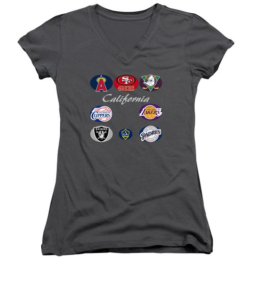 California Professional Sport Teams Collage  Women's V-Neck T-Shirt (Junior Cut) by Movie Poster Prints