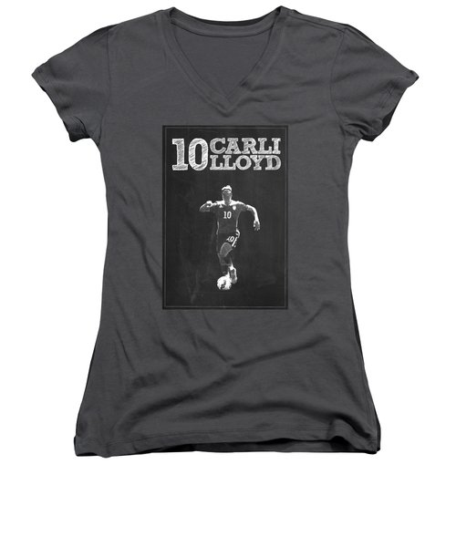 Carli Lloyd Women's V-Neck T-Shirt (Junior Cut) by Semih Yurdabak