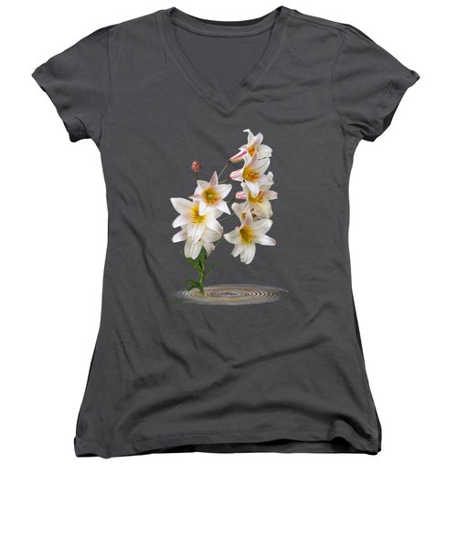 Cascade Of Lilies On Black Women's V-Neck T-Shirt (Junior Cut) by Gill Billington
