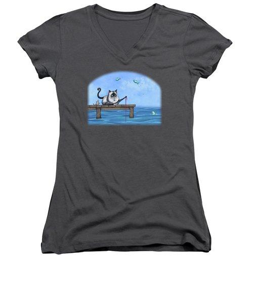 Cat Fish Women's V-Neck T-Shirt (Junior Cut) by Temah Nelson
