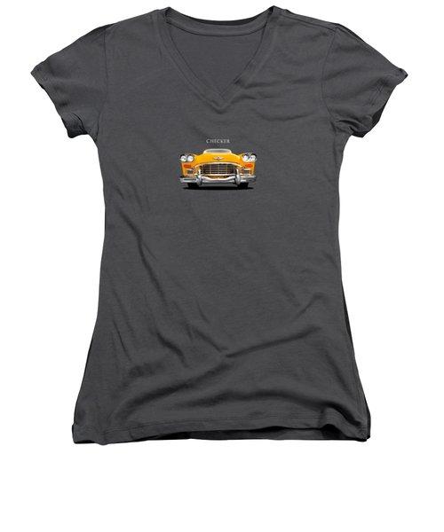 Checker Cab Women's V-Neck T-Shirt (Junior Cut) by Mark Rogan