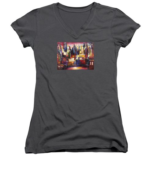 Chicago City View Women's V-Neck T-Shirt (Junior Cut) by Kathleen Patrick