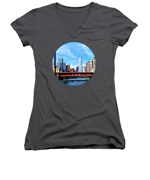 Chicago Il - Lake Shore Drive Bridge Women's V-Neck T-Shirt (Junior Cut) by Susan Savad