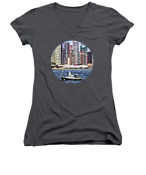 Chicago Il - Sailing On Lake Michigan Women's V-Neck T-Shirt (Junior Cut) by Susan Savad