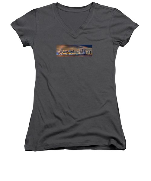 Chicago Skyline At Night Panorama Color 1 To 3 Ratio Women's V-Neck T-Shirt (Junior Cut) by Jon Holiday
