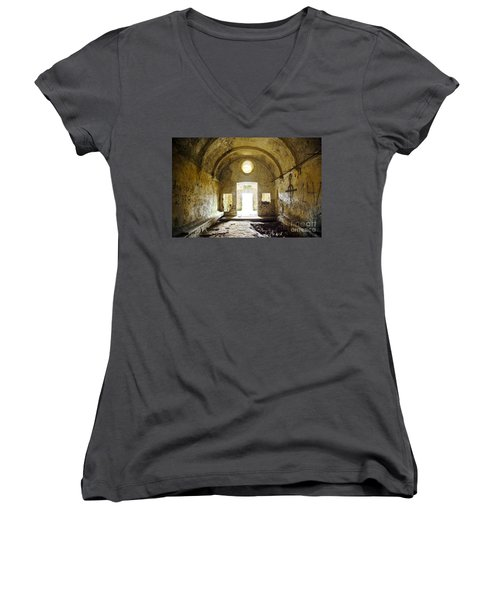 Church Ruin Women's V-Neck T-Shirt (Junior Cut) by Carlos Caetano