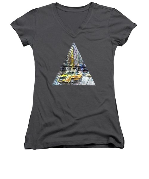 City-art Nyc Collage Women's V-Neck T-Shirt (Junior Cut) by Melanie Viola