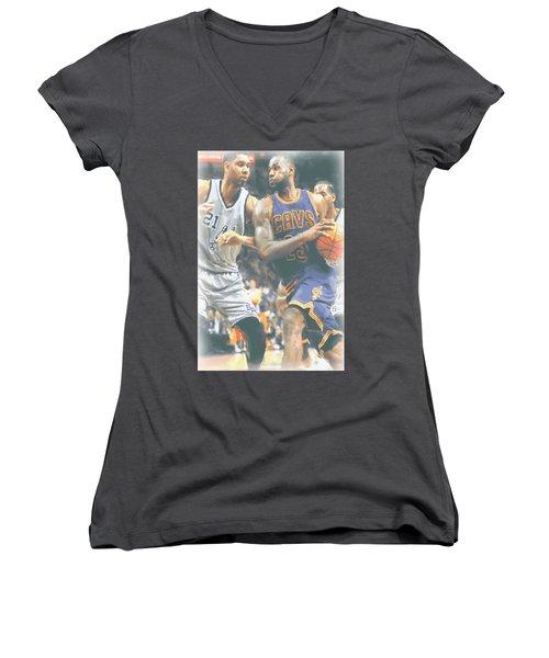 Cleveland Cavaliers Lebron James 4 Women's V-Neck T-Shirt (Junior Cut) by Joe Hamilton
