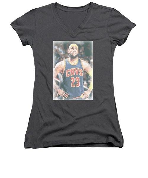 Cleveland Cavaliers Lebron James 5 Women's V-Neck T-Shirt (Junior Cut) by Joe Hamilton