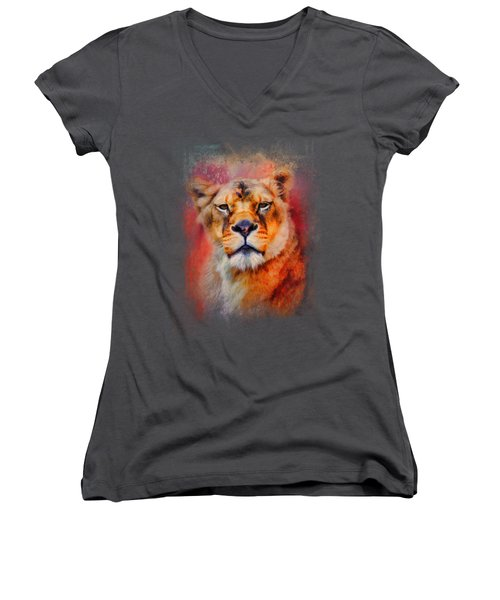Colorful Expressions Lioness Women's V-Neck T-Shirt (Junior Cut) by Jai Johnson