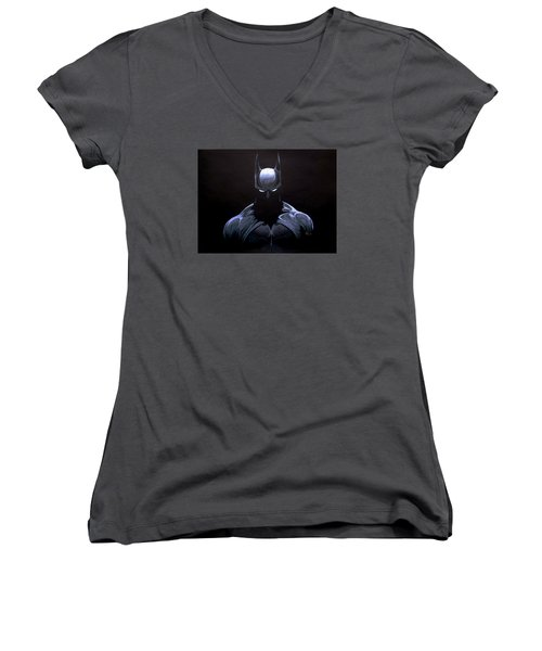 Dark Knight Women's V-Neck T-Shirt (Junior Cut) by Marcus Quinn
