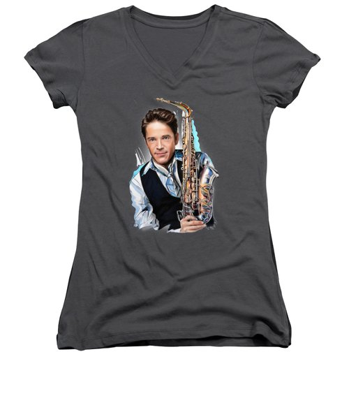 Dave Koz Women's V-Neck T-Shirt (Junior Cut) by Melanie D