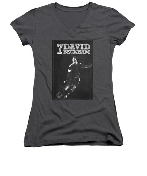 David Beckham Women's V-Neck T-Shirt (Junior Cut) by Semih Yurdabak