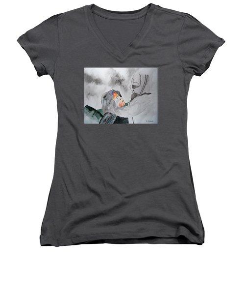 Dean Deleo - Stone Temple Pilots - Music Inspiration Series Women's V-Neck T-Shirt (Junior Cut) by Carol Crisafi