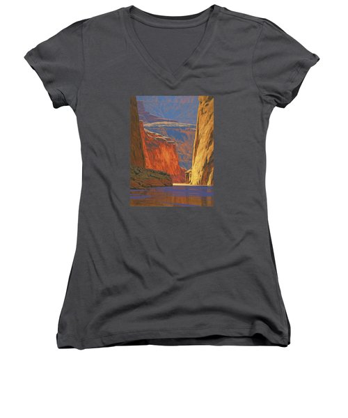 Deep In The Canyon Women's V-Neck T-Shirt (Junior Cut) by Cody DeLong
