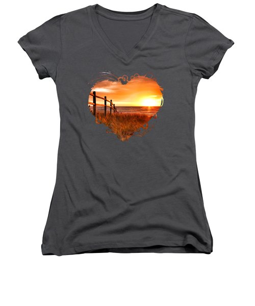 Door County Europe Bay Fence Sunrise Women's V-Neck T-Shirt (Junior Cut) by Christopher Arndt