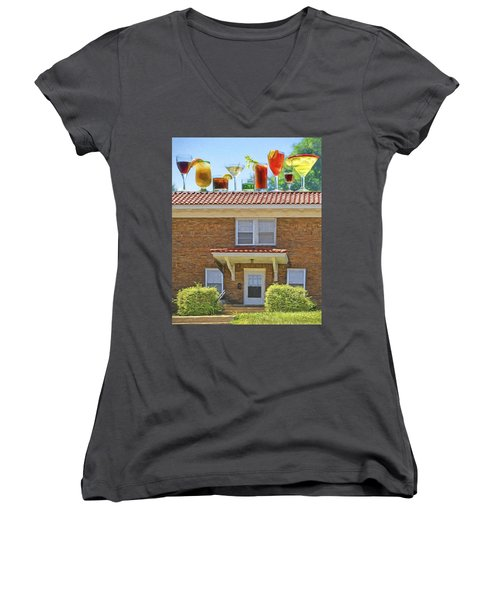 Drinks On The House Women's V-Neck T-Shirt (Junior Cut) by Nikolyn McDonald