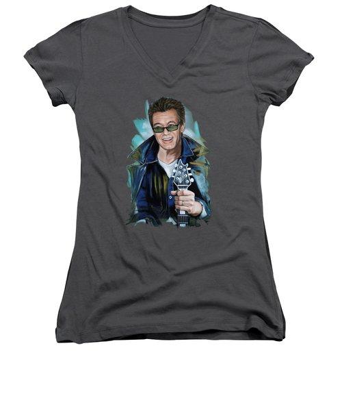 Eddie Van Halen Women's V-Neck T-Shirt (Junior Cut) by Melanie D
