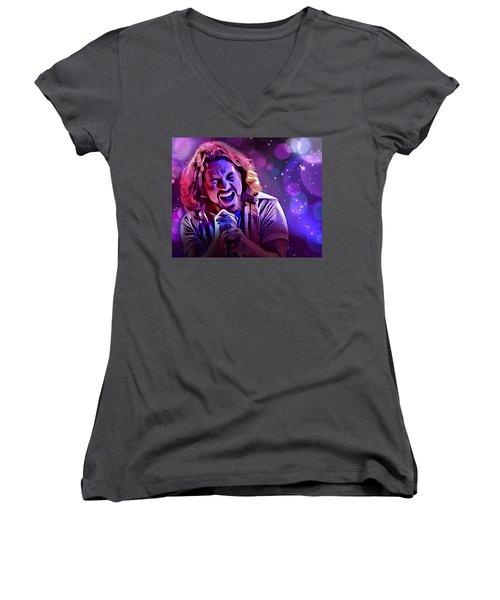 Eddie Vedder Portrait Women's V-Neck T-Shirt (Junior Cut) by Scott Wallace