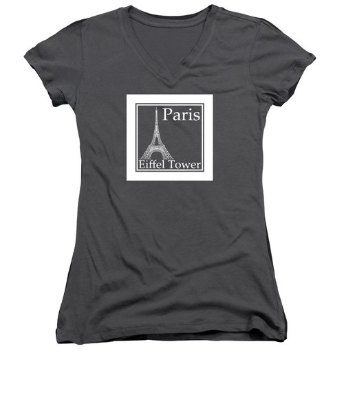 Eiffel Tower In White - Inverse  Women's V-Neck T-Shirt (Junior Cut) by Custom Home Fashions