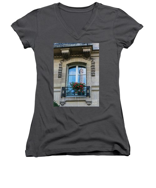 Eiffel Tower Paris Apartment Reflection Women's V-Neck T-Shirt (Junior Cut) by Mike Reid