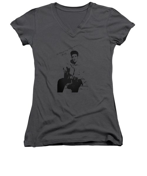 Elvis Presley - When Things Go Wrong Women's V-Neck T-Shirt (Junior Cut) by Serge Averbukh