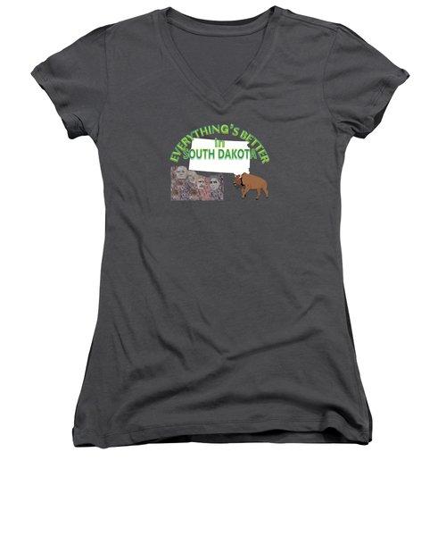 Everything's Better In South Dakota Women's V-Neck T-Shirt (Junior Cut) by Pharris Art