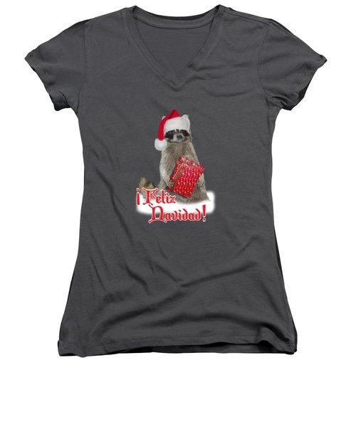 Feliz Navidad - Raccoon Women's V-Neck T-Shirt (Junior Cut) by Gravityx9  Designs