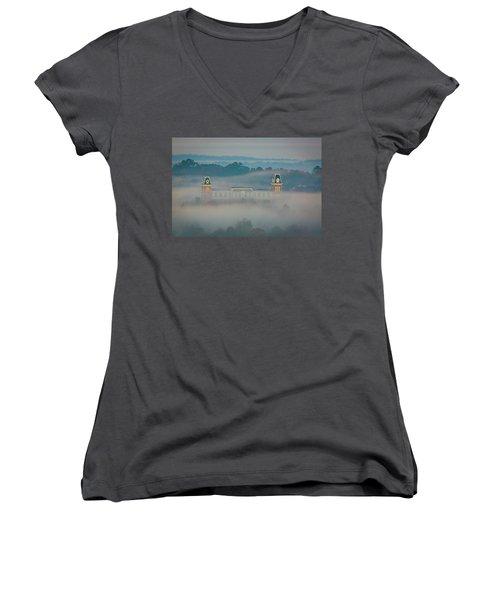 Fog At Old Main Women's V-Neck T-Shirt (Junior Cut) by Damon Shaw