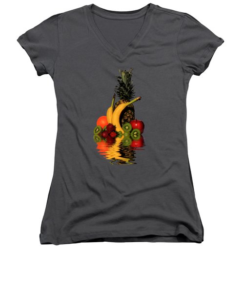 Fruity Reflections - Dark Women's V-Neck T-Shirt (Junior Cut) by Shane Bechler