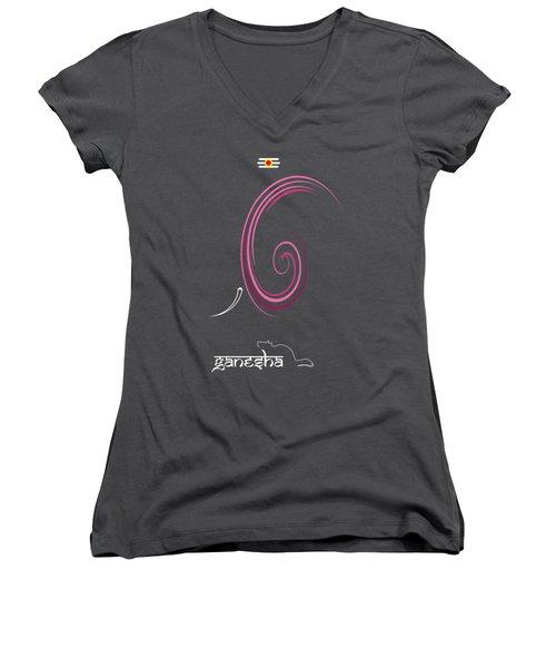 Ganesha Design Women's V-Neck T-Shirt (Junior Cut) by Tim Gainey