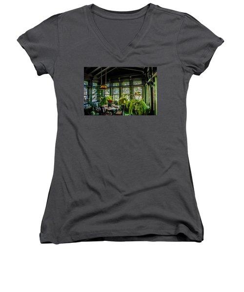 Glensheen Mansion Breakfast Room Women's V-Neck T-Shirt (Junior Cut) by Paul Freidlund