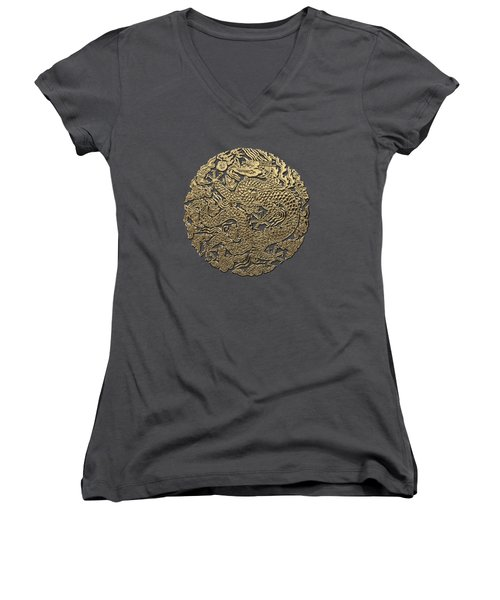 Golden Chinese Dragon On Red Leather Women's V-Neck T-Shirt (Junior Cut) by Serge Averbukh
