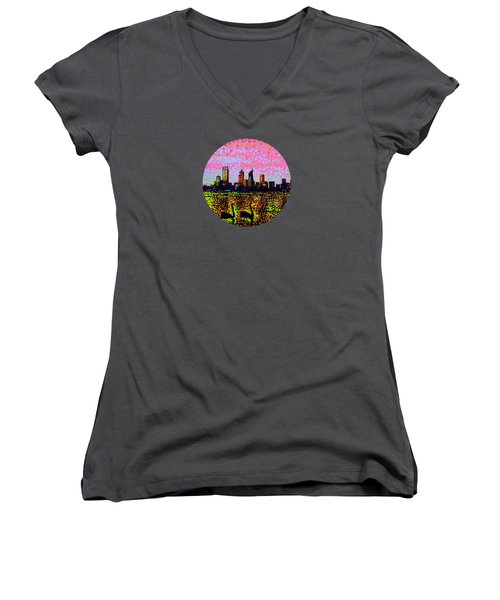 Golden Skyline Perth Women's V-Neck T-Shirt (Junior Cut) by Alan Hogan