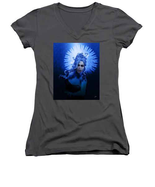 Gorgon Blue Women's V-Neck T-Shirt (Junior Cut) by Joaquin Abella