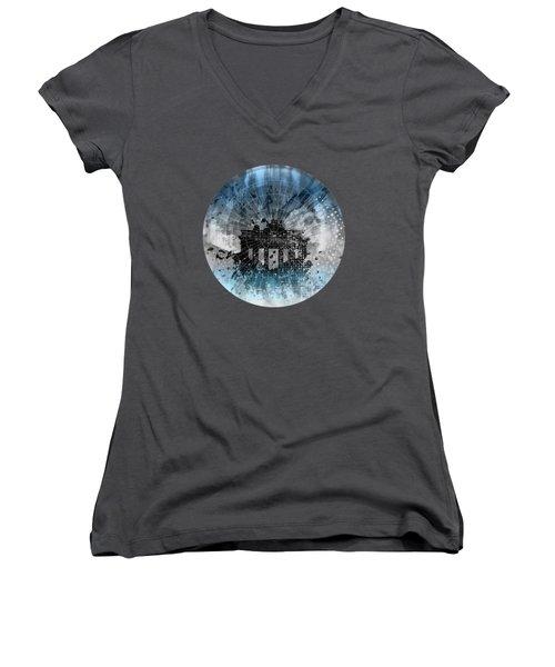 Graphic Art Berlin Brandenburg Gate Women's V-Neck T-Shirt (Junior Cut) by Melanie Viola