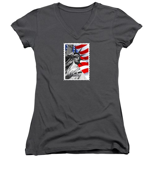 Graphic Statue Of Liberty With American Flag Text Usa Women's V-Neck T-Shirt (Junior Cut) by Elaine Plesser