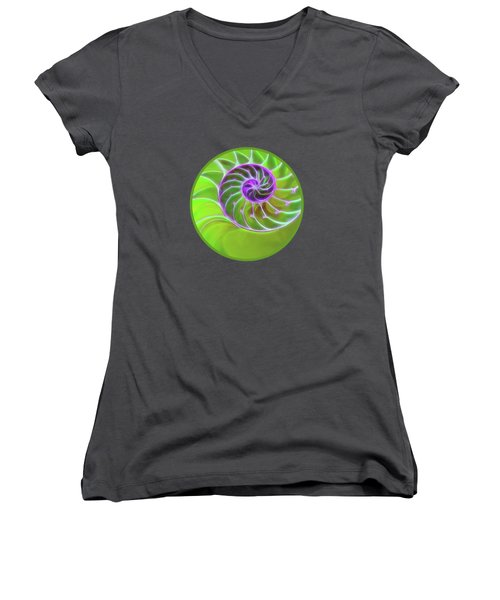 Green And Purple Spiral Women's V-Neck T-Shirt (Junior Cut) by Gill Billington