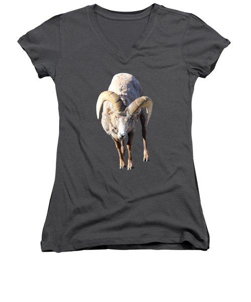 Head-on Women's V-Neck T-Shirt (Junior Cut) by Shane Bechler