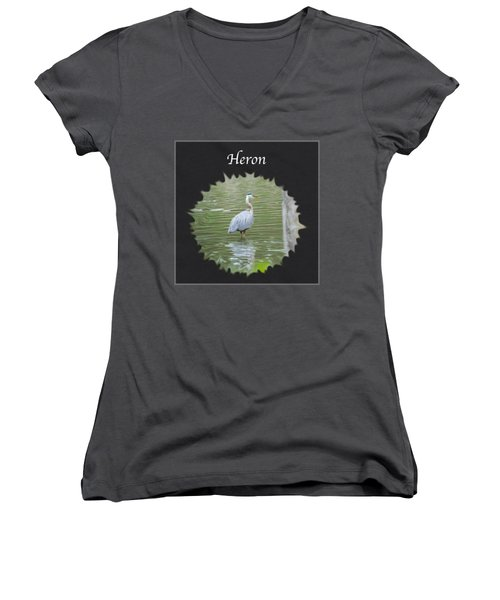 Heron Women's V-Neck T-Shirt (Junior Cut) by Jan M Holden