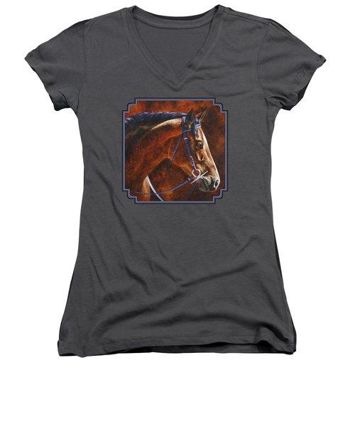 Horse Painting - Ziggy Women's V-Neck T-Shirt (Junior Cut) by Crista Forest