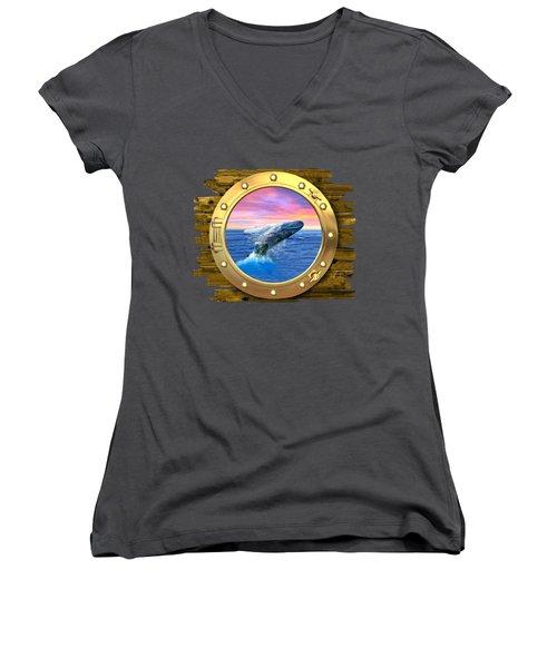 Humpback Whale Breaching At Sunset Women's V-Neck T-Shirt (Junior Cut) by Glenn Holbrook