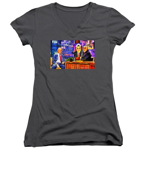 I Like To Paint Dogs Too Women's V-Neck T-Shirt (Junior Cut) by Leonardo Digenio