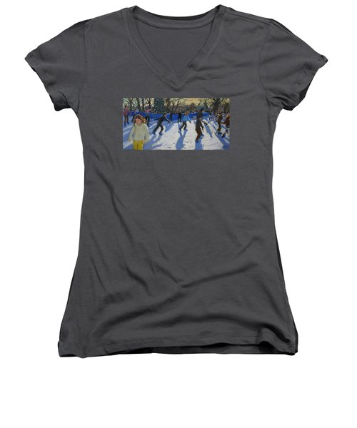 Ice Skaters At Christmas Fayre In Hyde Park  London Women's V-Neck T-Shirt (Junior Cut) by Andrew Macara