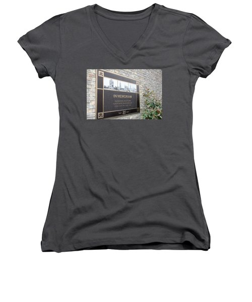 Women's V-Neck T-Shirt (Junior Cut) featuring the photograph In Memoriam - Ypres by Travel Pics